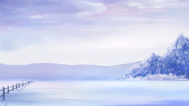 겨울 겨울 눈 보라색 삽화 소재 삽화 이미지