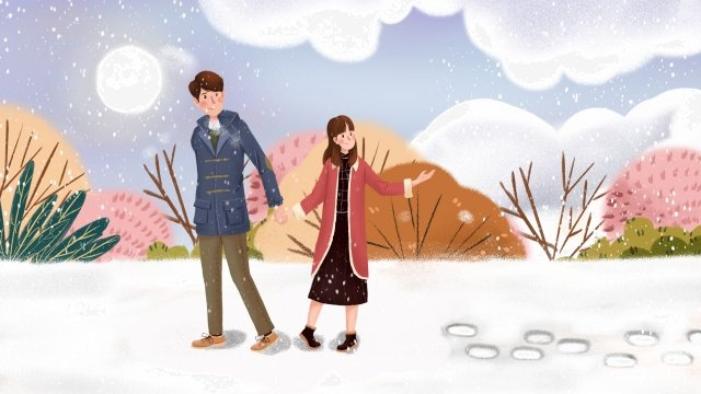 winter winter snow scene in the snow, Couple, Snowing, Light Snow illustration image