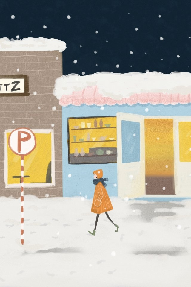 winter winter snowing character, Building, Lovely, Illustration illustration image