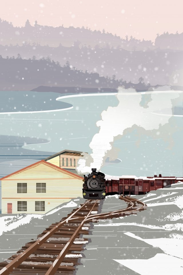 winter winter snowing train illustration image
