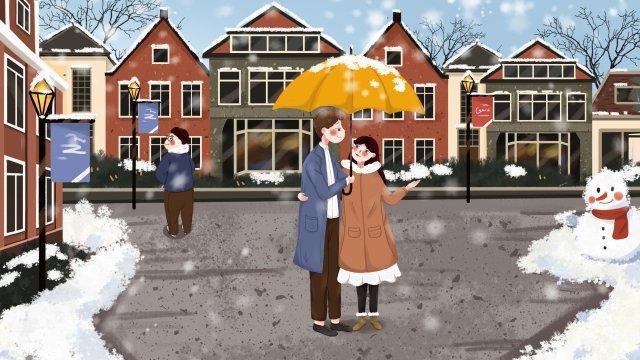 겨울 겨울 눈이 우는 우산 삽화 소재 삽화 이미지