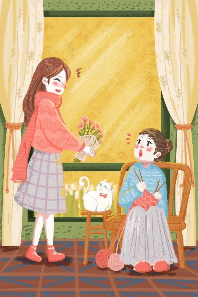 winter winter warm family illustration image
