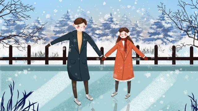 겨울 겨울 겨울 부부 삽화 소재 삽화 이미지