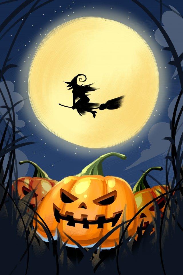 penyihir labu labu halloween seram imej keterlaluan imej ilustrasi