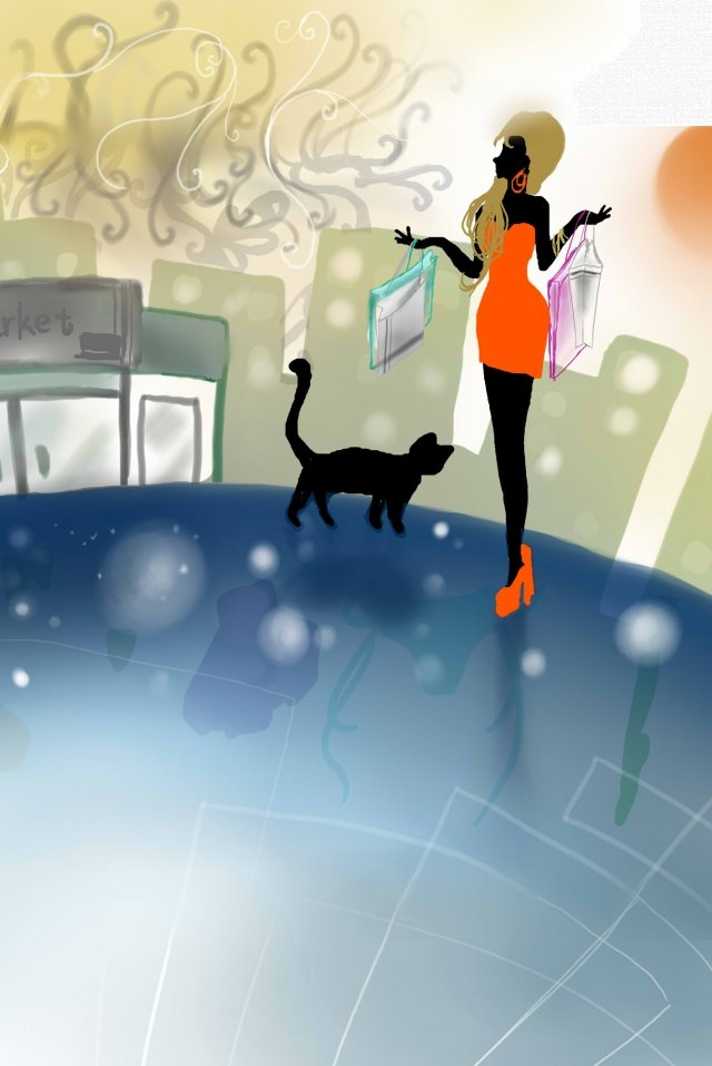 woman earth mall cat, Building, Pattern, Illustration illustration image