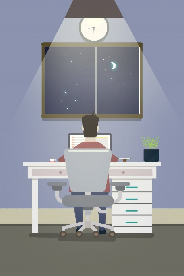 work in the workplace working overtime office worker jobs illustration image