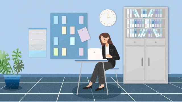職場のオフィスコンピュータオフィス イラストレーション画像 イラスト画像