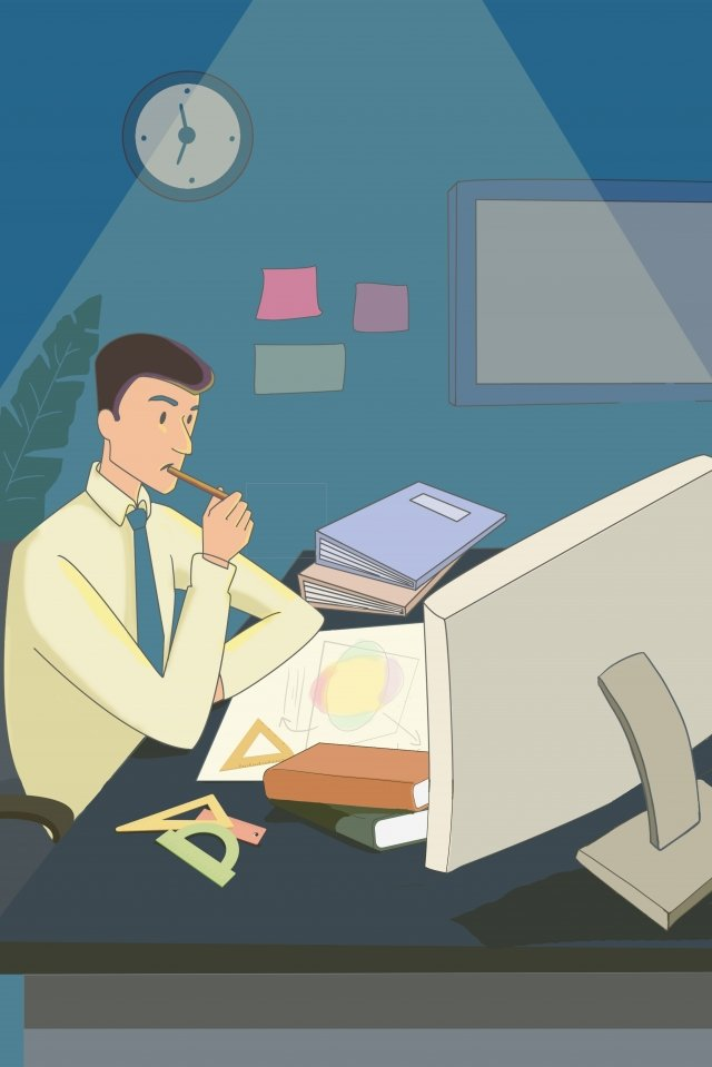 workplace overtime simple work hard illustration image