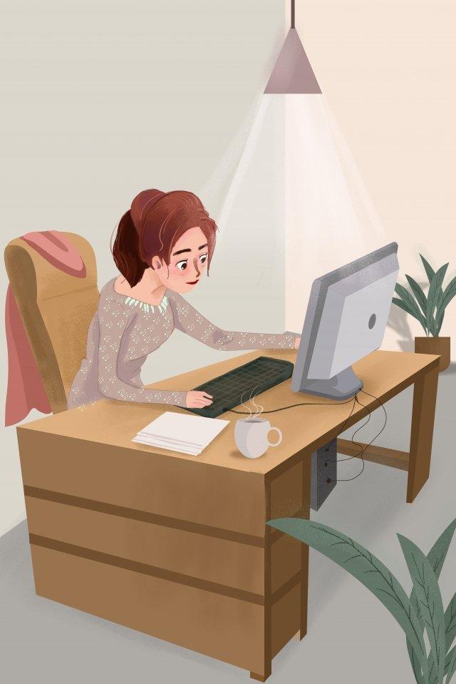 lavoro sul posto di lavoro bella illustrazione giovani donne nellufficio ragazze in lotta sul posto di lavoro Immagine dell'illustrazione