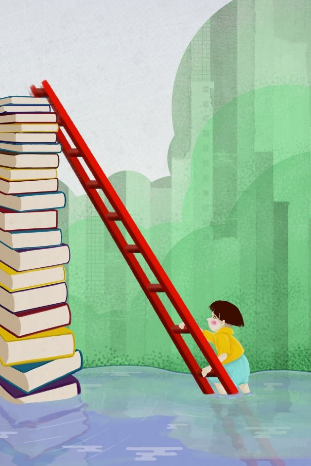 world book day ladder the climb ocean, Book Mountain, Book, Child illustration image