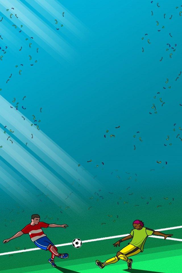 ワールドカップサッカーグリーンブルー イラスト画像