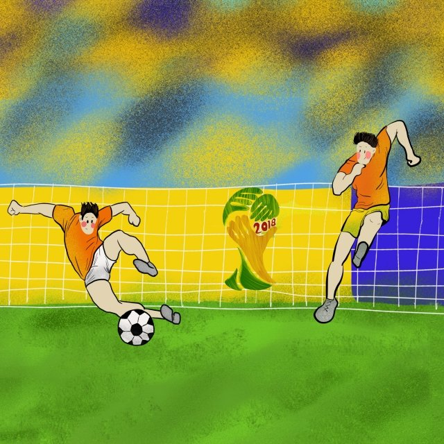 world cup lawn green hand painted, Cartoon, Poster, Album illustration image