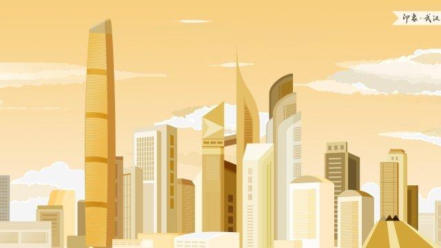 wuhan central business district impression landmark building, Landmarks, City Illustration, Skyline illustration image
