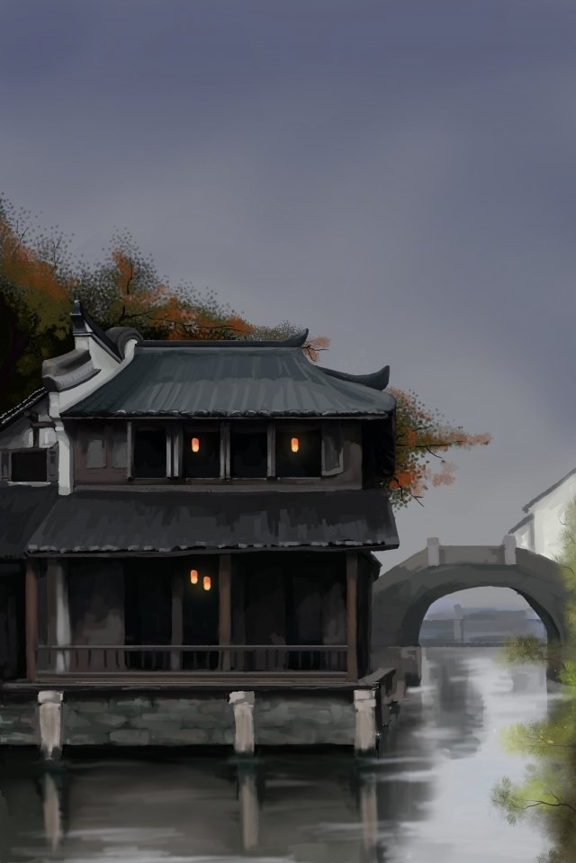 烏鎮の観光名所 イラスト素材