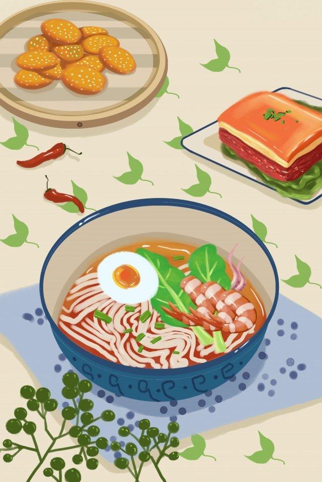 アモイ砂茶麺揚げ日付食品 イラスト素材