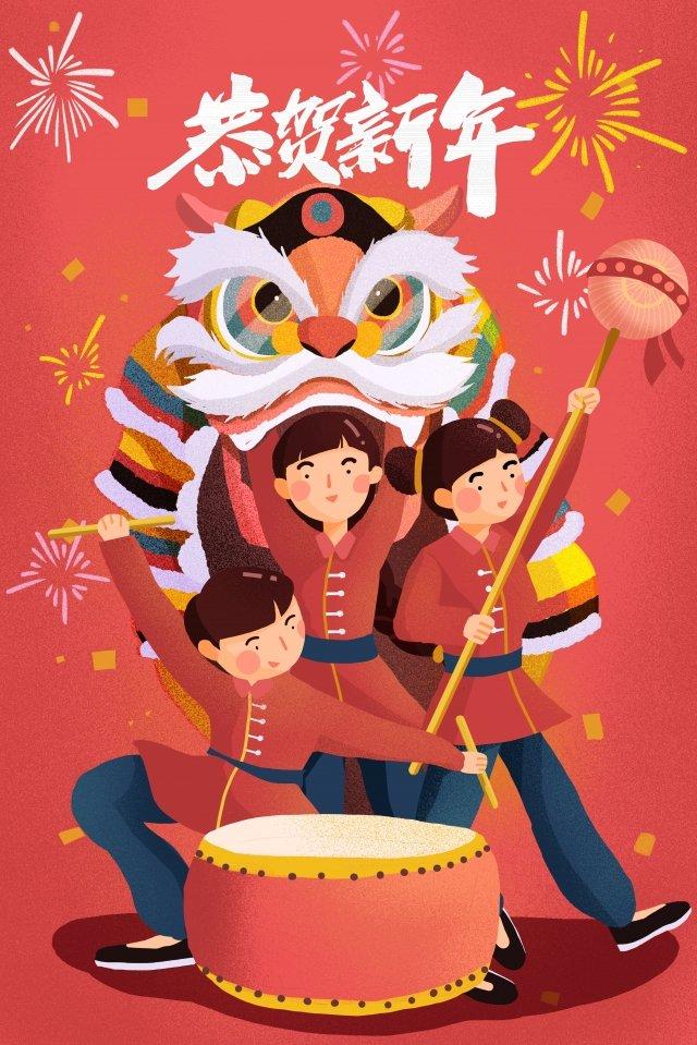ano ano novo ano novo pintado à mão Material de ilustração Imagens de ilustração