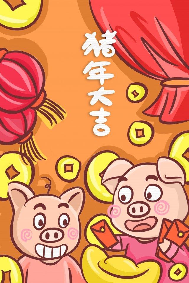 豚の年漫画豚2019年の豚 イラスト素材