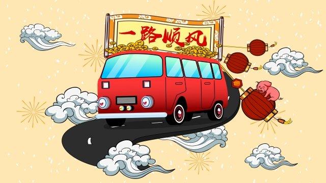 豚ランタン中国風バナーの年 イラスト素材 イラスト画像