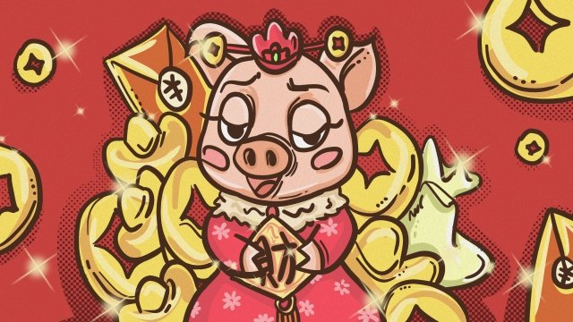 year of the pig new spring cartoon hand painted, Illustration, Pig, Gold illustration image