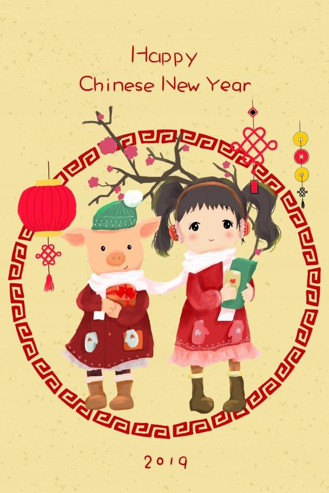 豚新春新年中国の年 イラスト画像