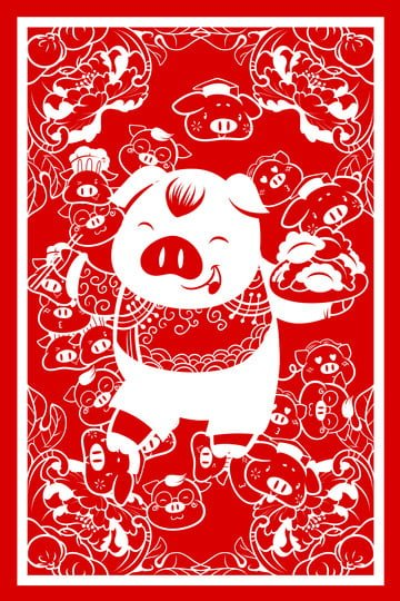 year of the pig new spring new year spring festival, Paper Cutting, Pig, Hand Painted illustration image