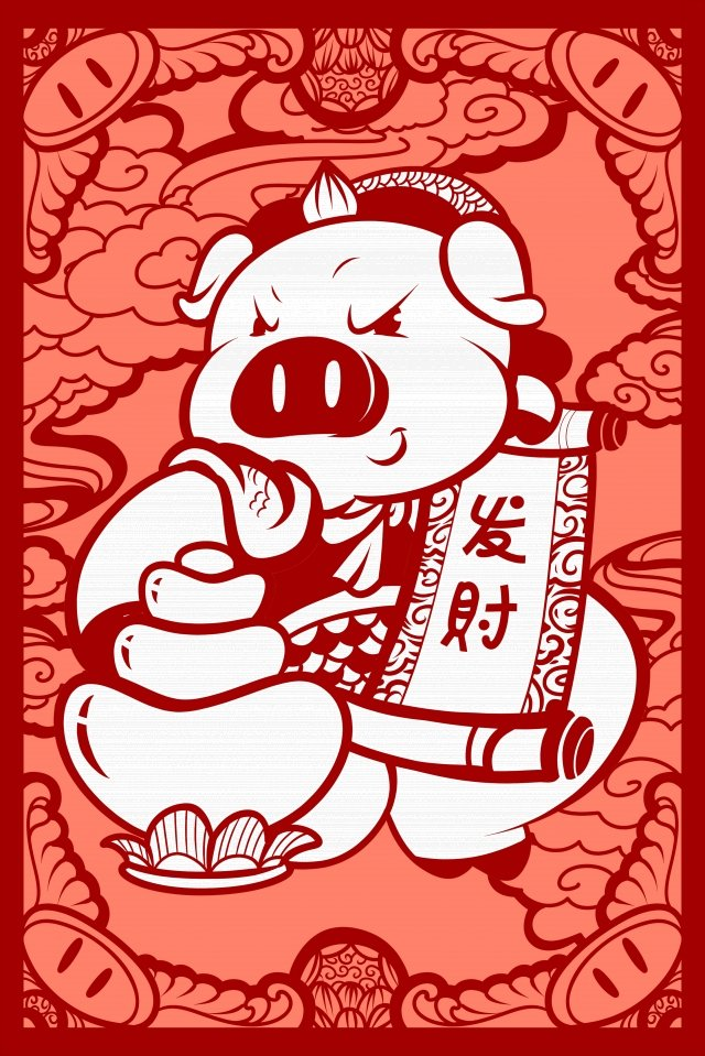 year of the pig new spring new year spring festival, Paper Cutting, Illustration, Hand Painted illustration image