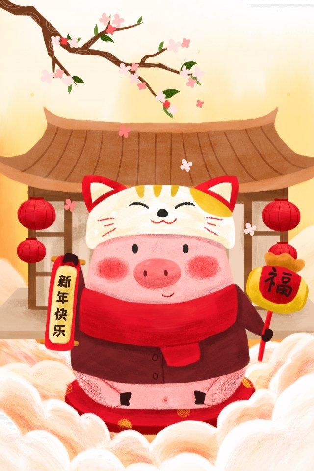 돼지 새해 2019 행운의 고양이 삽화 소재
