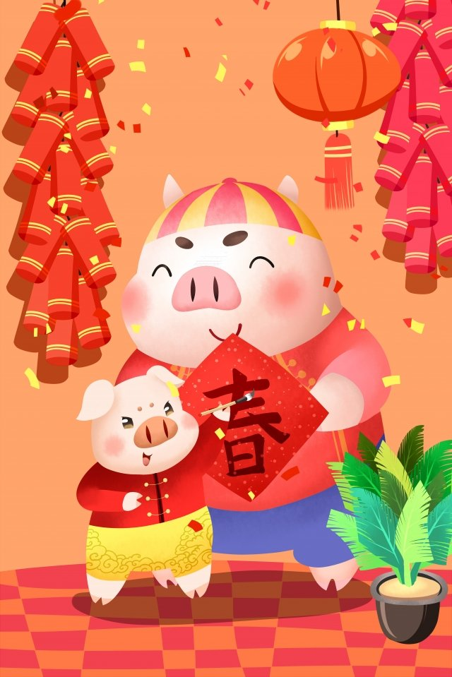 year of the pig new year new spring spring festival, Couplet, New Year, Pig illustration image