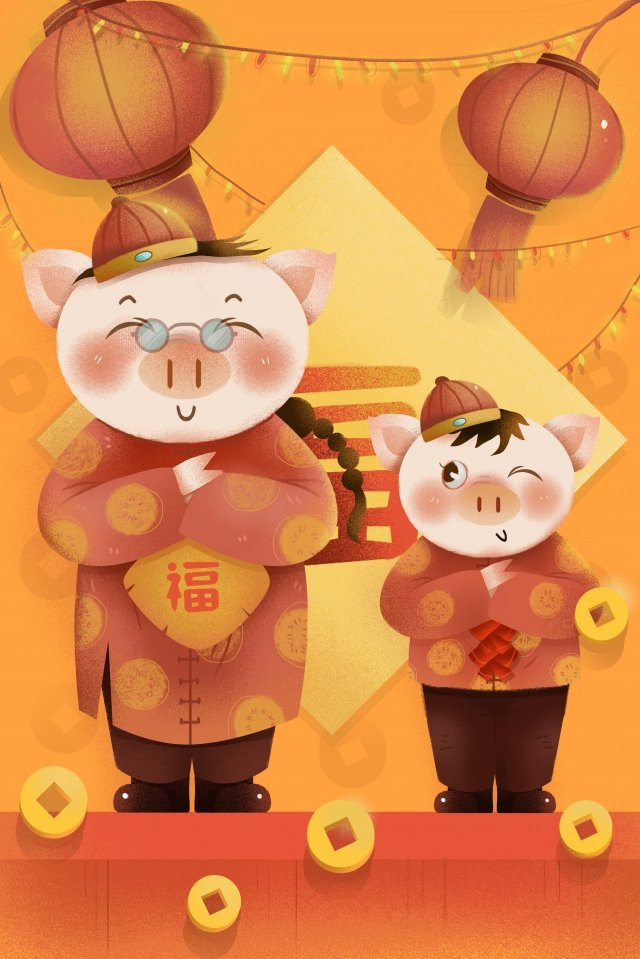 year of the pig new year spring festival new year, Hand Painted, Chinese Style, Illustration illustration image