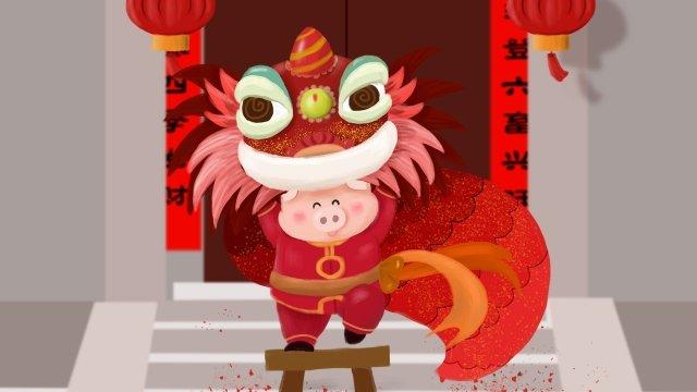 돼지 봄 축제 사자 무용 축제 삽화 소재 삽화 이미지