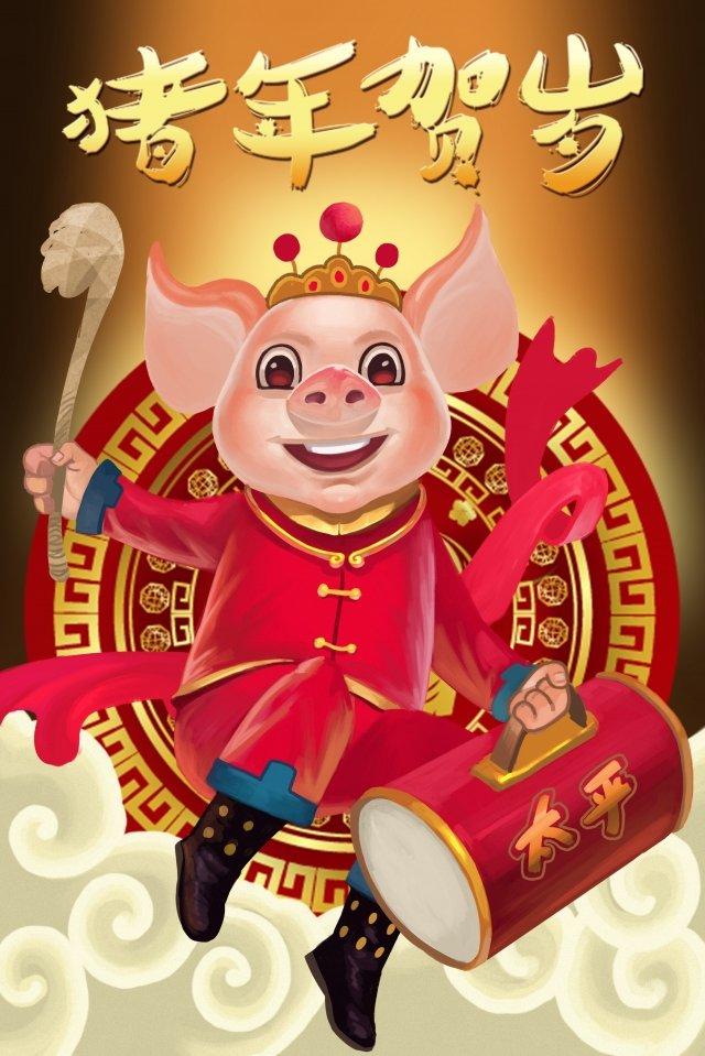돼지 봄 축제 돼지 피우는 년의 드럼 삽화 소재
