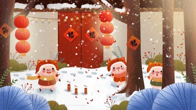 돼지 겨울 봄 축제 새해 삽화 소재