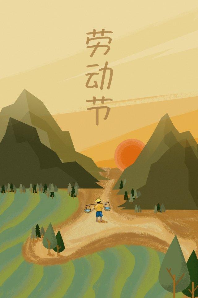 पीला मजदूर किसान उठाता है चित्रण छवि