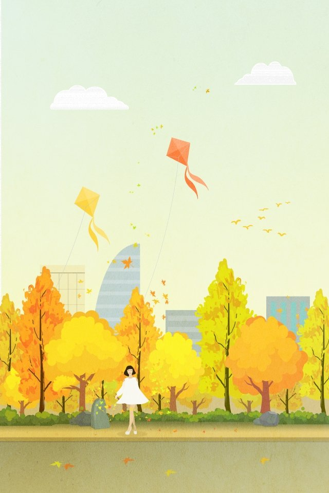 yellow leaf maple fly a kite autumn tour, Autumnal, Hand, Drawn illustration image