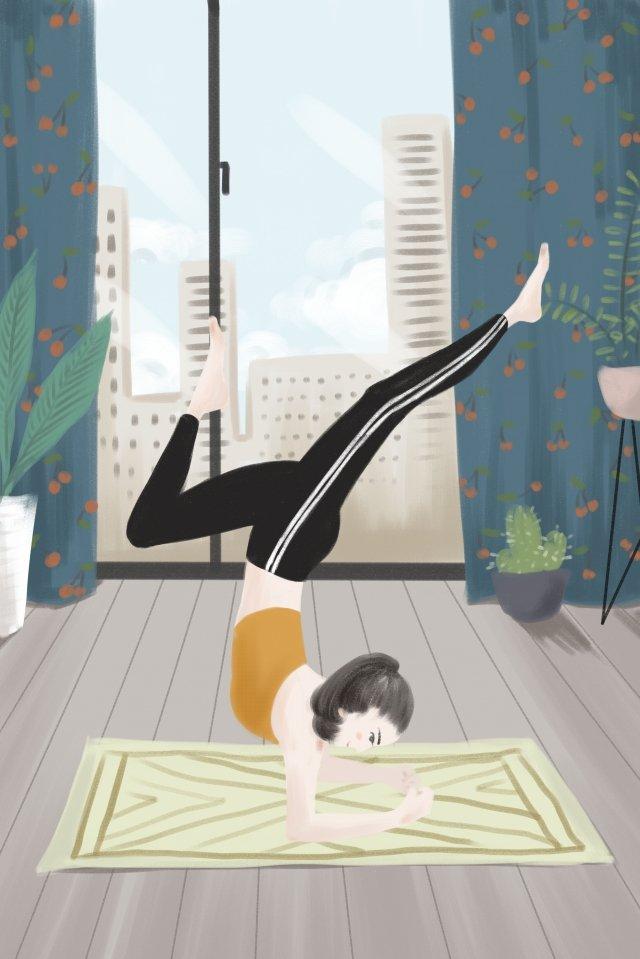ヨガ女の子寝室都市 イラストレーション画像