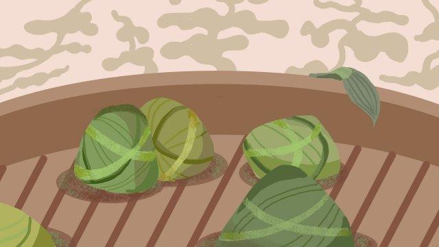 粽子龍舟節優雅簡約 插畫素材