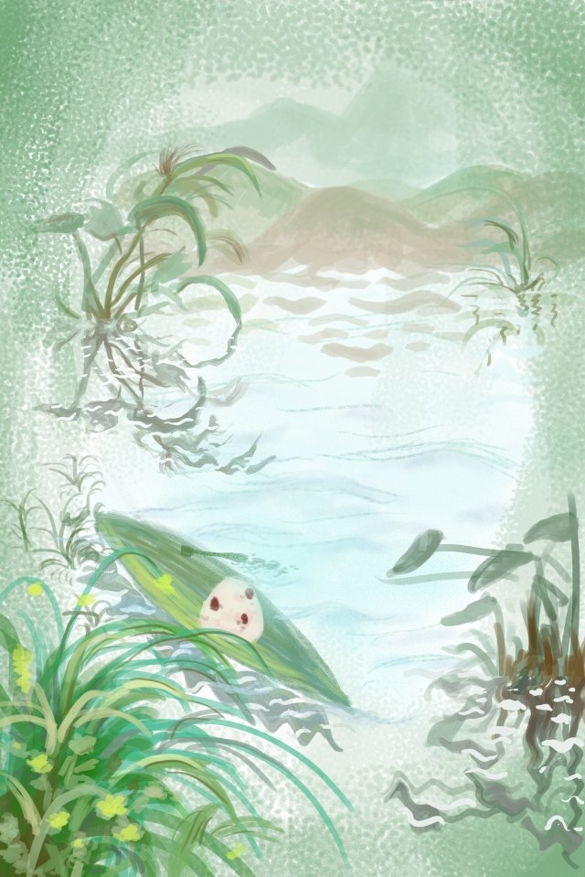 粽子龍舟節枇杷葉湖 插畫素材