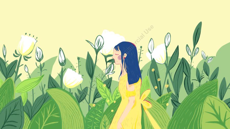 Original Hand Painted Summer Little Girl, August, Summer Vacation, Little Girl llustration image