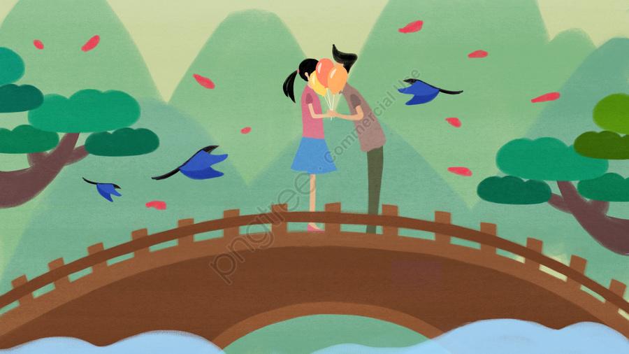 オリジナルイラストは七夕に会います, バックグラウンド, 壁紙, ロマンチックな七夕 llustration image