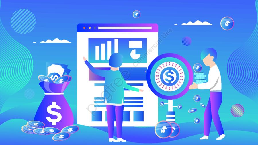 グラデーションの漫画のベクトルの投資信託の金融の人物の挿し絵, 事務所, アニメ, だんだん変わっていく llustration image
