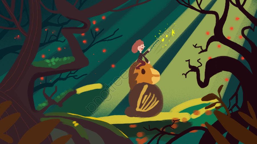 子供の冒険、ワンダーランドシーンの図, こども, 冒険, 夢遊病 llustration image