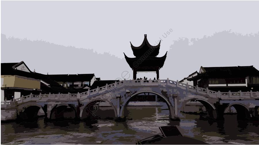 中国風亭台アーチ橋水墨スタイル, 中国風, あずまや, アーチ橋 llustration image