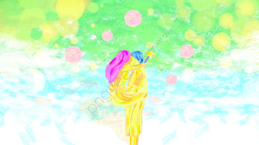 Cặp đôi Tanabata Vẽ Tay ôm Nhau, Poster Ngày Lễ Tình Nhân, Poster Lễ Hội Qixi, Quảng Cáo Ngày Lễ Tình Yêu Tanabata llustration image