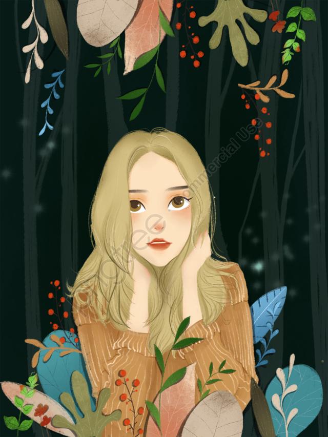 सुंदर चरित्र चित्र मोरी लड़की चित्रण, कॉपीराइट, मूल चित्रण, चरित्र चित्रण llustration image