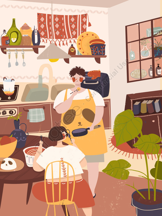 Couple Cooking Daily Small Fresh Home Life Illustration Scene Drawing, Couple Everyday, Kitchen, Cooking llustration image