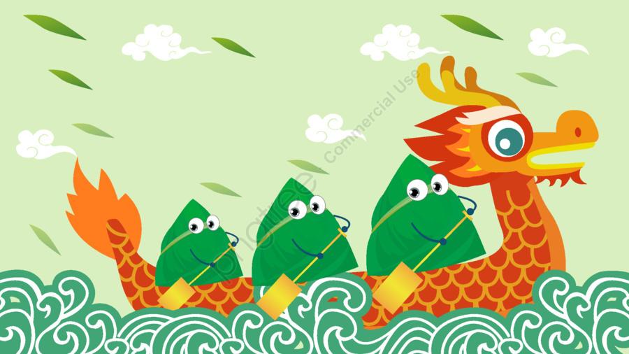 Dragon boat festival cartoon scorpion haitao 粽 leaves rowing, 劃龍舟, 端午節, 粽子 llustration image
