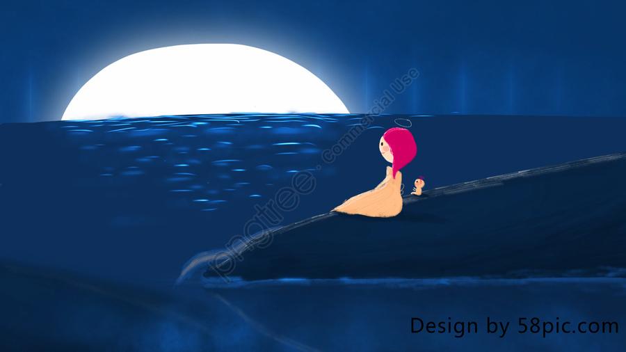 Little Aurora Tour Series Moon Sea Healing Illustration, Dream, Wonderland, Cure llustration image