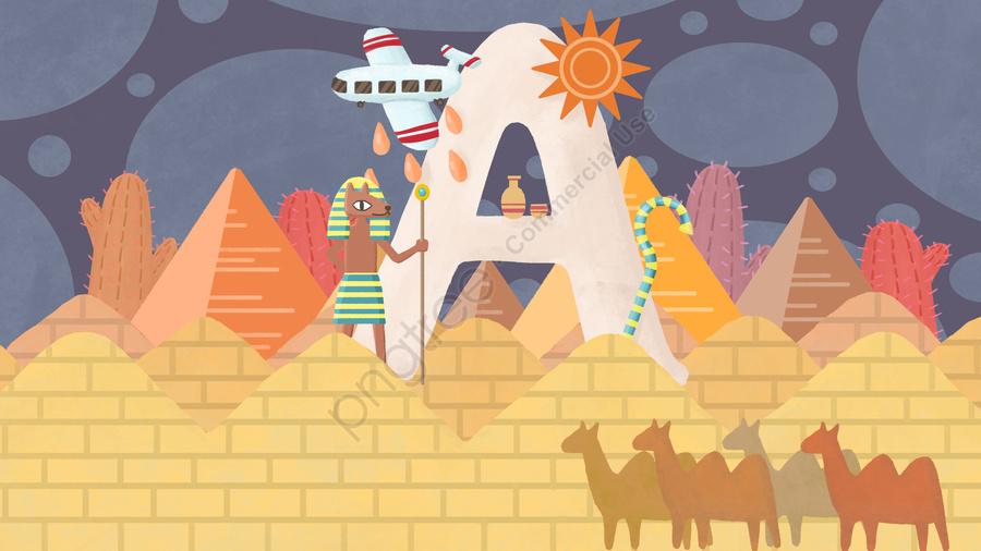 エジプトのイラスト, エジプト, A, 砂漠 llustration image