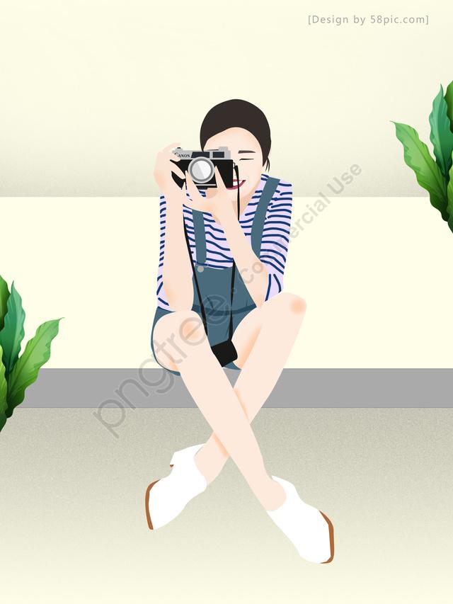 オリジナルイラスト撮影少女, ファッション, 簡単, 写真撮影 llustration image