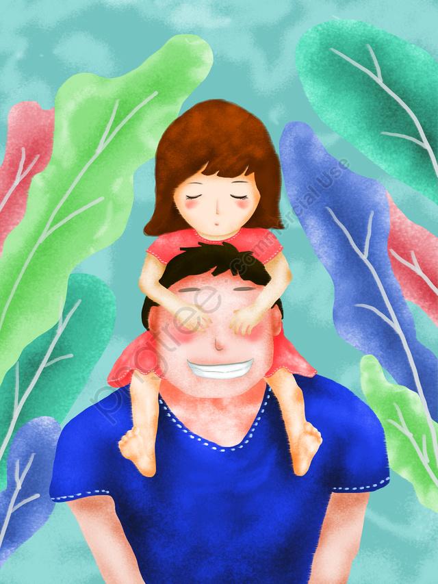 元の父の日イラスト, 父の日, 小さな女の子, 祭り llustration image